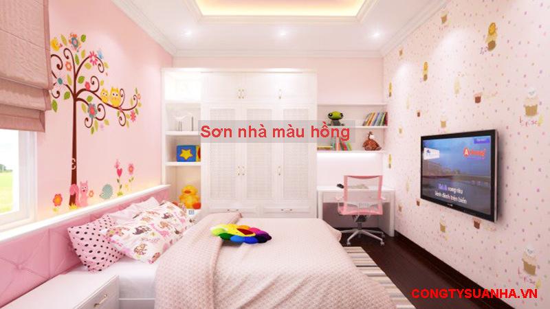 sơn tường nhà màu hồng