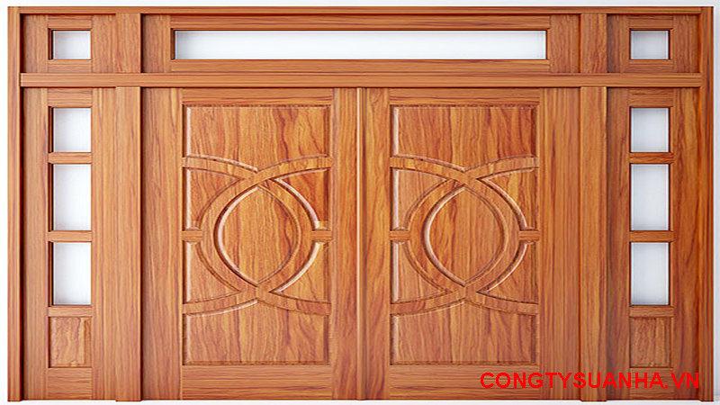 mẫu cửa gỗ 2 cánh mặt tiền