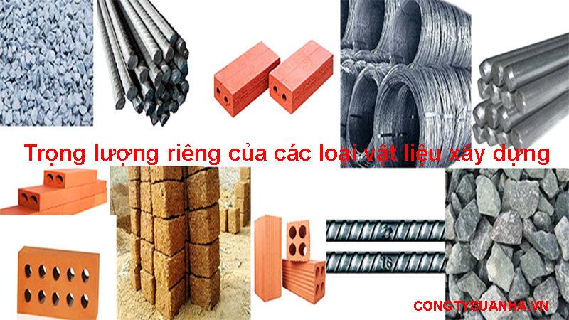 Trọng lượng riêng của các loại vật liệu xây dựng
